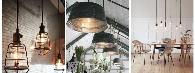 Industrial interior design pendat lamps