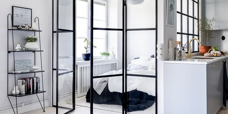 White and glass room