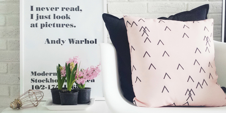 Scandinavian interior design pink pillow