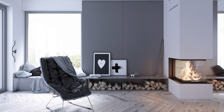 Scandinavian Interior design fireplace