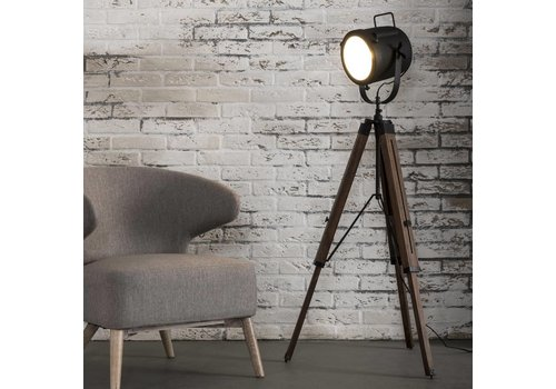 Vintage Floor Lamp Wood Tripod