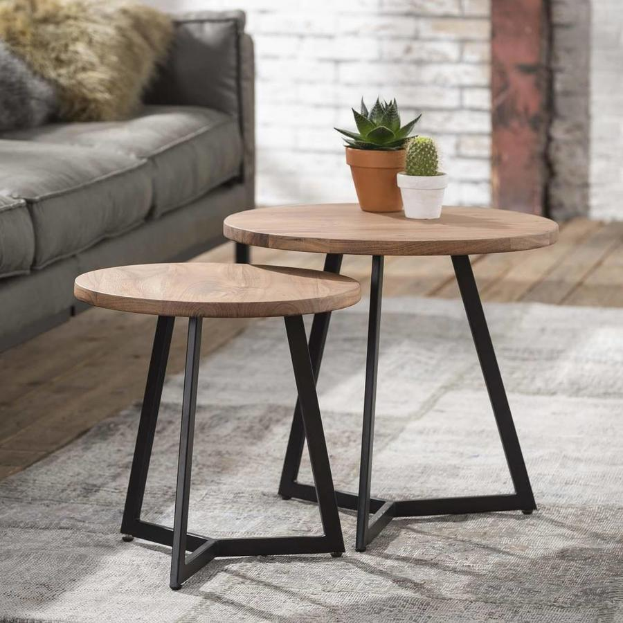 Side Table 2-Set Round Top Linked Tripod