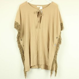 NICE CONNECTION BEIGE PONCHO MET FRINGE | NICE CONNECTION | maat S