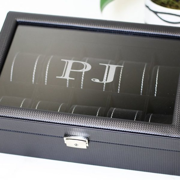 10 Carbon Fiber Pattern Leather Watch Box with Glass Top