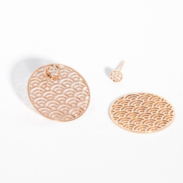 Wave earrings II with diamonds
