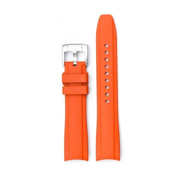 EVEREST CURVED END RUBBER WITH TANG BUCKLE FOR ROLEX DEEPSEA (ORANGE)