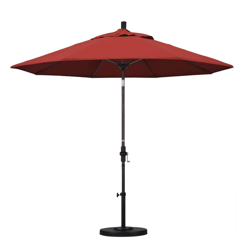 California Umbrella 9' Fiberglass Tilt/Bronze/Pacifica/Red Umbrella