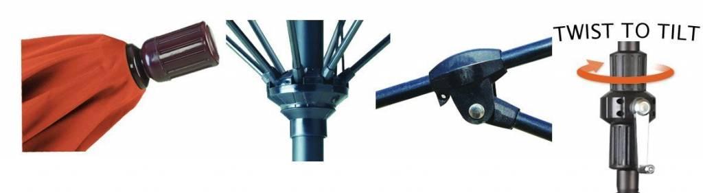 California Umbrella 9' Fiberglass Tilt/Bronze/Pacifica/Sapphire Blue Umbrella