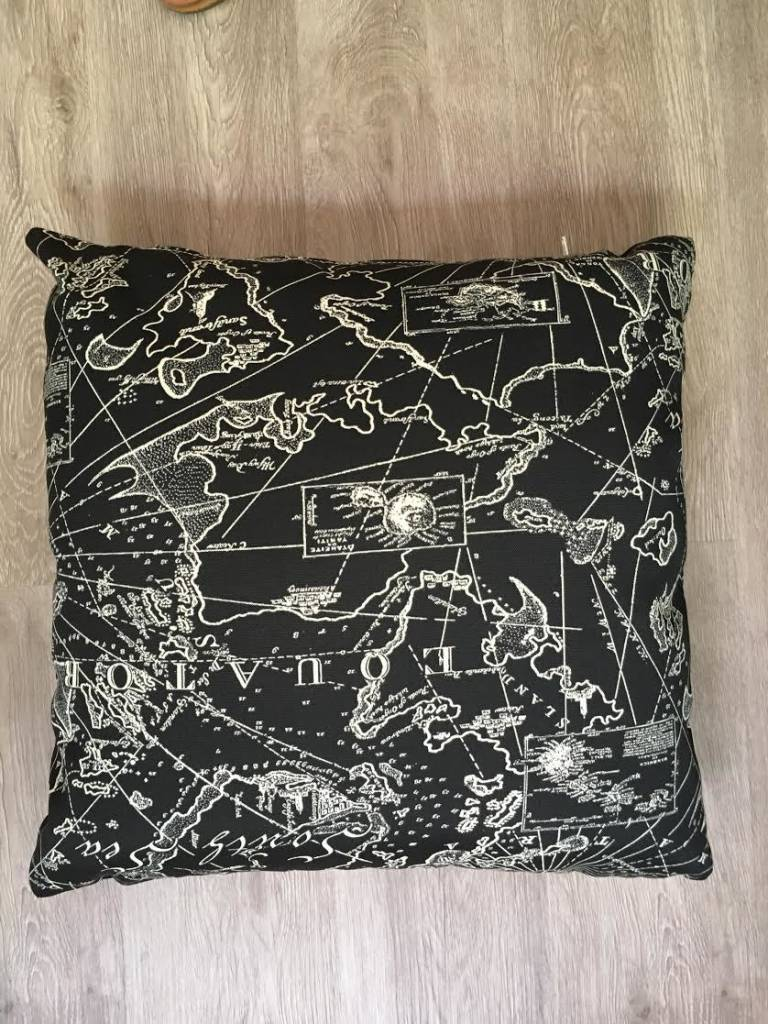 "Gotcha Covered Sunbrella Map Pattern 14"" Pillow"