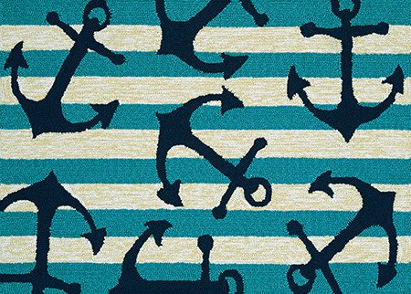 Couristan Covington Accents Anchors Away Aqua 2'x3'