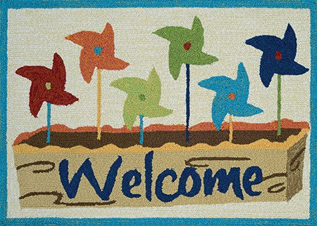 Couristan Covington Accents Welcome Pinwheel 2'x3'