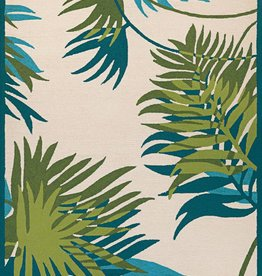 """Couristan Covington Jungle Leaves Ivory/Forest Green 5'6""""x8'"""