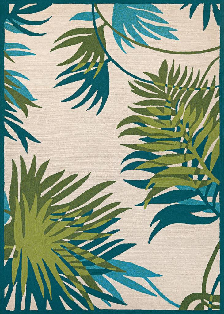 "Couristan Covington Jungle Leaves Ivory/Forest Green 5'6""x8'"