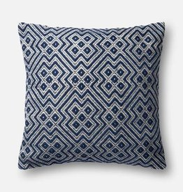 "Loloi P0499 IN/OUT Navy/White 22""x22"""