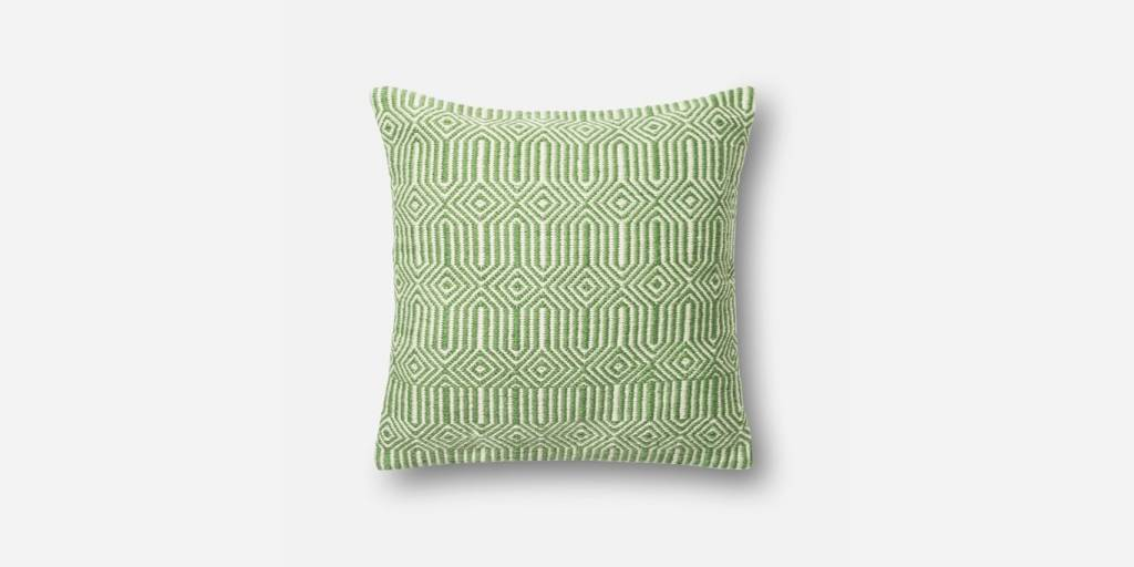 """Loloi P0339 IN/OUT Green/Ivory 22""""x22"""""""