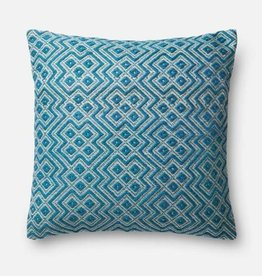 """Loloi P0499 IN/OUT Teal/White 22""""x22"""""""
