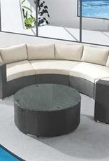 Round Sectional Coffee Table with Glass