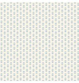 Makower/Andover 8512 W, Blue Sky, Flower Stripe Cream