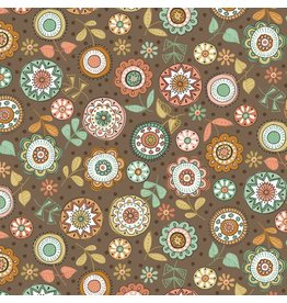 Makower/Andover 1874 V, Doodle Days, Flowers Hessian