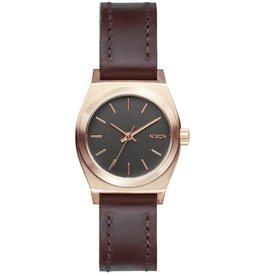 Nixon NIXON, Small Time Teller Leather, Rose Gold/ Gunmetal/Brown