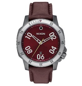 Nixon Nixon, Ranger Leather, Gunmetal / Deep Burgundy