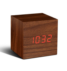 Gingko, ClickClock Cube, walnut, red LED