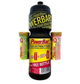 POWER BAR  5 Electrolytes Onpack Pink Grapefruit Koffein & Mango Passionfruit + Gratis 750ml Trinkflasche black
