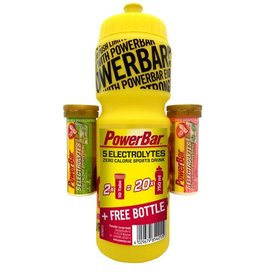 POWER BAR 5 Electrolytes Onpack Pink Grapefruit Koffein & Mango Passionfruit + Gratis 750ml Trinkflasche gelb