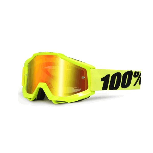 100% 100% Accuri Youth goggle anti<br />fog mirror lens fluo yellow