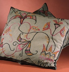 MANKS ANTIQUES PAIR OF HAND EMBROIDERED JUGEND CUSHIONS W/ TEAL BACKGROUNDSWEDENARTS & CRAFTS, 1910W69 x H57 CM
