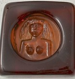 AMBER GLASS SCULPTURE OF NUDE AFRICAN LADY