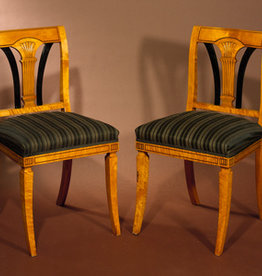 MANKS ANTIQUES PAIR OF BEDERMEIER STYLE HALL CHAIRS