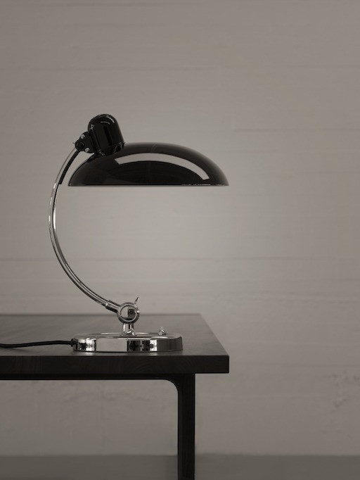 6631 KAISER IDELL LUXUS TABLE LAMP IN HAND-PAINTED HIGH GLOSS BLACK SHADE