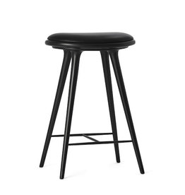 (DISPLAY) ETHICAL HIGH STOOL, BLACK STAINED HARDWOOD