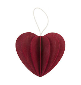 HEART SHAPED ORNAMENT IN DARK RED (SMALL)