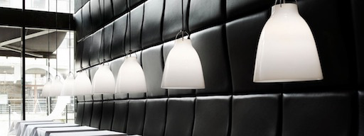 CARAVAGGIO P0 PENDANT LIGHT WITH OPAL GLASS SHADE