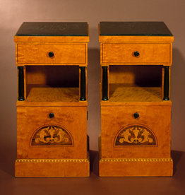MANKS ANTIQUES PAIR OF BIEDERMEIER CABINETS WITH ROSEWOOD & SATINWOOD INLAY