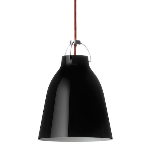 CARAVAGGIO P1 STEEL PENDANT LIGHT, BLACK HIGH GLOSS LACQUER