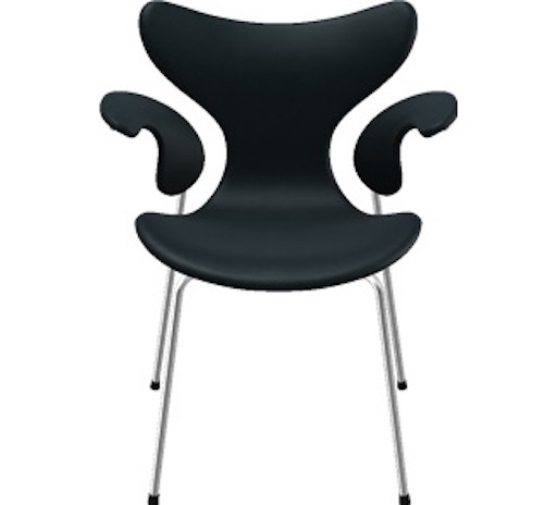 3208 LILY ARMCHAIR IN BASIC BLACK LEATHER