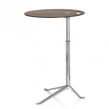 KS11 LITTLE FRIEND HEIGHT ADJUSTABLE MULTI-PURPOSE TABLE, WALNUT VENEER TOP, CHROMED STEEL & POLISHED ALUMINIUM BASE ∅ 45CM | H50-73 CM