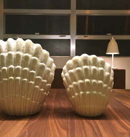 MANKS ANTIQUES PAIR OF GLAZED SCALLOP SHELL POTTERY VASES