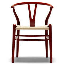 CARL HANSEN & SON (DISPLAY) CH24 WISHBONE CHAIR IN JAPAN RED LACQUERED BEECH