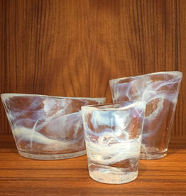 MINE BOWLS WITH TUMBLER IN GLASS WITH WHITE SWIRL