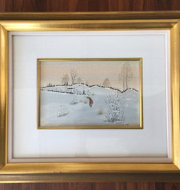 MANKS ANTIQUES FRAMED FINE WATERCOLOUR OF A FOX IN WINTER