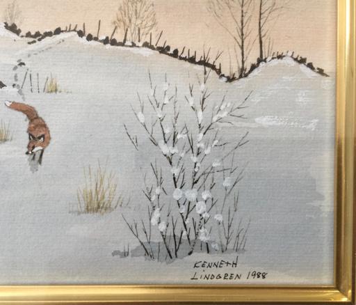 FRAMED FINE WATERCOLOUR OF A FOX IN WINTER