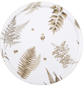 1001-46 STENSÖTA BEIGE/VIT ROUND TRAY IN BIRCH WITH EMBEDDED TEXTILE ARTWORK ON SURFACE