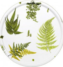 1001-65 COHIBA STENSÖTA GRÖN/VIT ROUND TRAY IN BIRCH WITH EMBEDDED TEXTILE ARTWORK ON SURFACE, ∅65 CM
