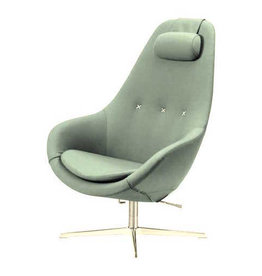 (DISPLAY) KOKON LOUNGE CHAIR FULLY UPHOLSTERED IN MOSS GREEN
