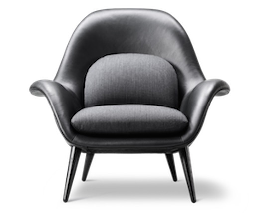 FREDERICIA 1770 SWOON LOUNGE CHAIR IN BLACK LEATHER