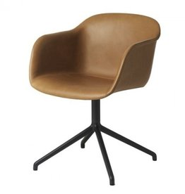 FIBER ARMCHAIR SHELL UPHOLSTERED IN COGNAC SILK LEATHER (WITHOUT AUTO RETURN)
